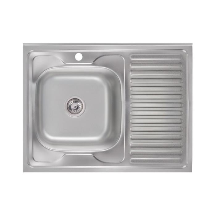 Кухонна мийка Lidz 6080-L 0,6 мм Satin (LIDZ6080L06SAT)