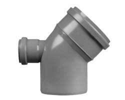Коліно каналізаційне TA Sewage 50х110х110, 45° з відведенням