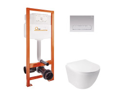 Набір Qtap інсталяція Nest QTNESTM425M08CRM + унітаз з сидінням Jay QT07335176W