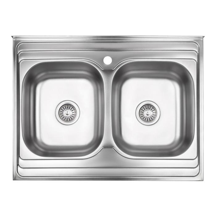 Кухонна мийка з двома чашами Lidz 6080 0,8 мм Decor (LIDZ6080DEC08)