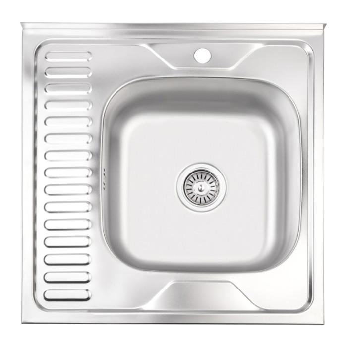 Кухонна мийка Lidz 6060-R Satin 0,6 мм (LIDZ6060RSAT06)
