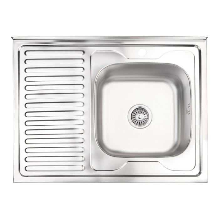 Кухонна мийка Lidz 6080-R 0,8 мм Satin (LIDZ6080RSAT8)