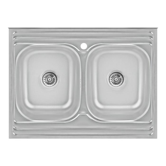 Кухонна мийка з двома чашами Lidz 6080 0,8 мм Satin (LIDZ6080DBSAT8)