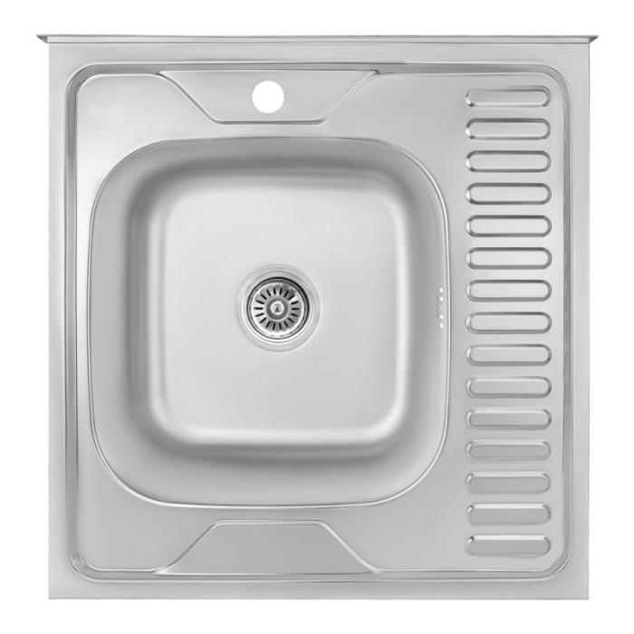 Кухонна мийка Lidz 6060-L 0,8 мм Satin (LIDZ6060LRSAT8)