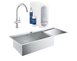 Набір Grohe мийка кухонна K1000 31581SD0 + змішувач Blue Home 31455001