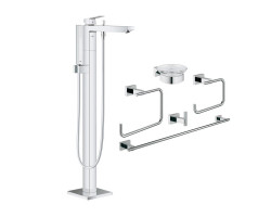 Комплект Grohe змішувач для ванни Eurocube 23672001 + набір аксесуарів Essentials Cube 40758001