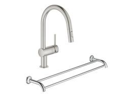 Набір Grohe змішувач для кухні з висувним виливом Minta 32321DC2 + тримач для рушників Essentials Authentic 40654001