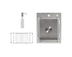 Набір 3 в 1 Lidz кухонна мийка H6050 3.0/0.8 мм Brush + сушарка + дозатор для миючого засобу