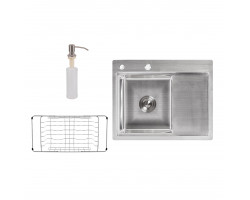 Набір 3 в 1 Lidz кухонна мийка H6350L 3.0/0.8 мм Brush + сушарка + дозатор для миючого засобу