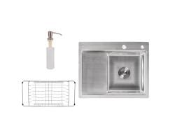 Набір 3 в 1 Lidz кухонна мийка H6350R 3.0/0.8 мм Brush + сушарка + дозатор для миючого засобу