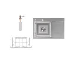 Набір 3 в 1 Lidz кухонна мийка H7851L 3.0/0.8 мм Brush + сушарка + дозатор для миючого засобу