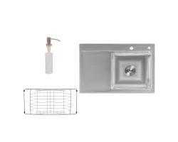 Набір 3 в 1 Lidz кухонна мийка H7851R 3.0/0.8 мм Brush + сушарка + дозатор для миючого засобу