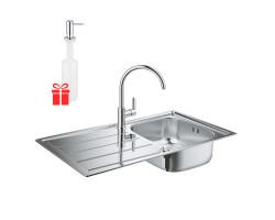Набір Grohe мийка кухонна K200 31562SD0 + змішувач BauEdge 31367000 + дозатор для миючого засобу Contemporary 40536000
